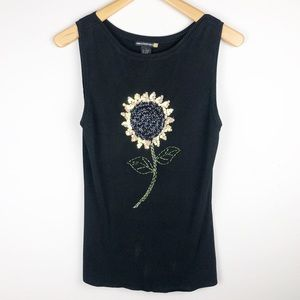 Sweaterworks Sunflower Beaded Sequin Tank Top L